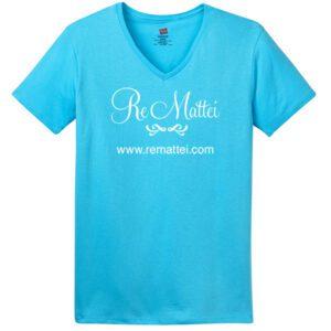 Hanes Ladies ComfortSoft V-Neck Tee - Aquatic Blue